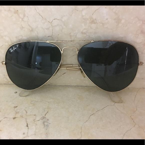 Gold Black Polarized Aviator Ray Ban Sunglasses